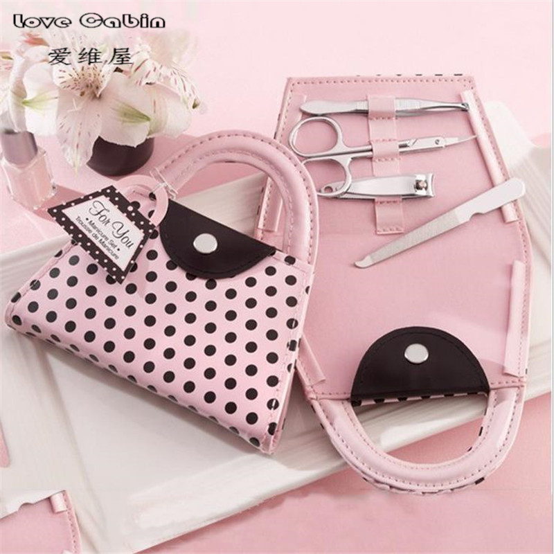 Pink Polka Dot Purse Manicure Set favor bridal shower favors wedding favors and gifts for guest
