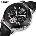 Homens relógio Marca De Luxo Turbilhão Relógios Mecânicos Moda LIGE business casual esporte relógio reloj hombre relogio masculino