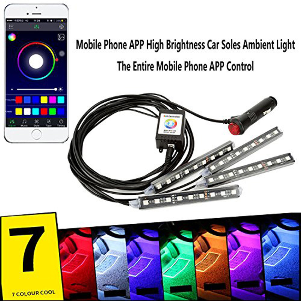 4pcs set 12v wireless app music control car interior rgb 12 led neon strip light with one. Black Bedroom Furniture Sets. Home Design Ideas
