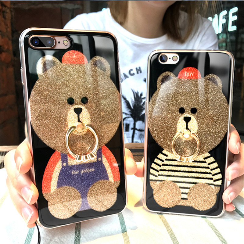 Cute cartoon TPU Case For Apple iphone7s Soft Cases fashion women ring Back Cover For iphone7Plus 6s 6Plus 5s Capa Funda Casing