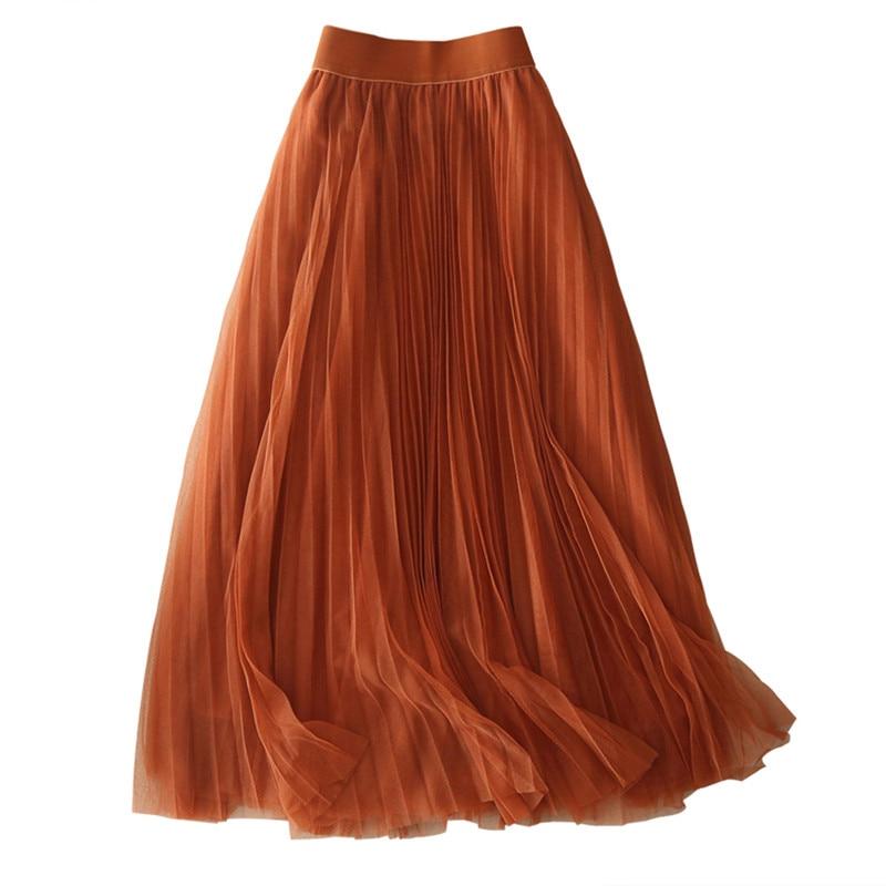 Новое поступление Для женщин Сплошной Цвет эластичный пояс Плиссированные большой качели юбка wxh-063