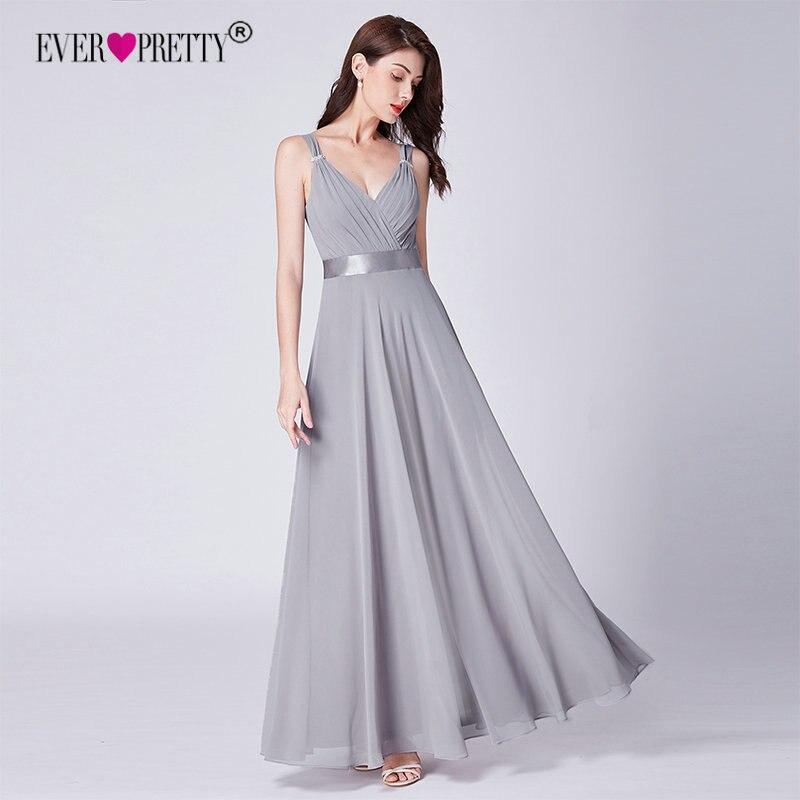 Grey Bridesmaids Dresses Long 2018 Ever Pretty Cheap Elegant A Line V Neck  Women Chiffon Wedding Party Dresses Robe Mousseline-in Bridesmaid Dresses  from ... 6ba2aa8af541