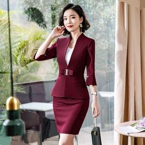 Image 3 - Dushicolorful משרד בגדי 2019 אביב קיץ נשים חצאית חליפות נשות egelant ללבוש רשמי שתי חתיכה חצאית סט אחיד שחור
