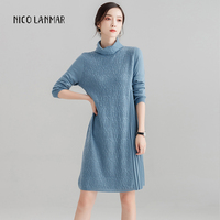 2019 Fashion Women's Long Sleeves Dress Turtleneck Sweater Dress Female Loose Pullovers Elegant Dress Clothes Clothing For Girls