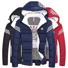 Cotton Wadded Padded Parka Men Jacket Hooded Zipper Strip Thick Winter Streetwear Warm Coat Oversized Male Man Outwear Boy Coat