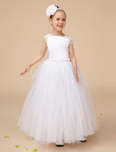 Fashion Ivory little girls dresses with lace straps elegant formal wedding flower girls dresses headpiece is