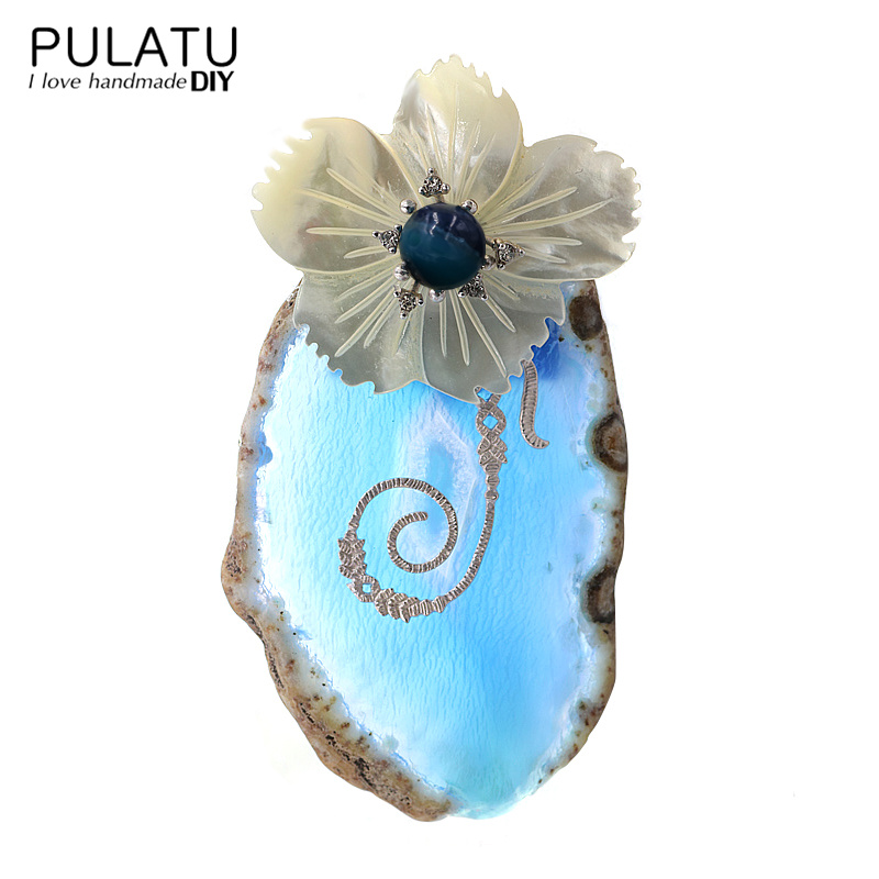 PULATU Original Handmade Crystal Flower Brooches for Women Natural Stone Fashion Jewelry Coat Scarf Brooch Pins Accessories chic flower pattern fringed edge voile scarf for women