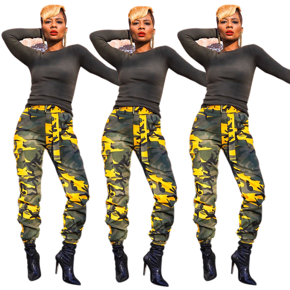 High Waist   Pants   Camouflage Loose Joggers Army Harem Camo   Pants   Women Streetwear Punk Black Cargo   Pants     Capris   Trousers XM483