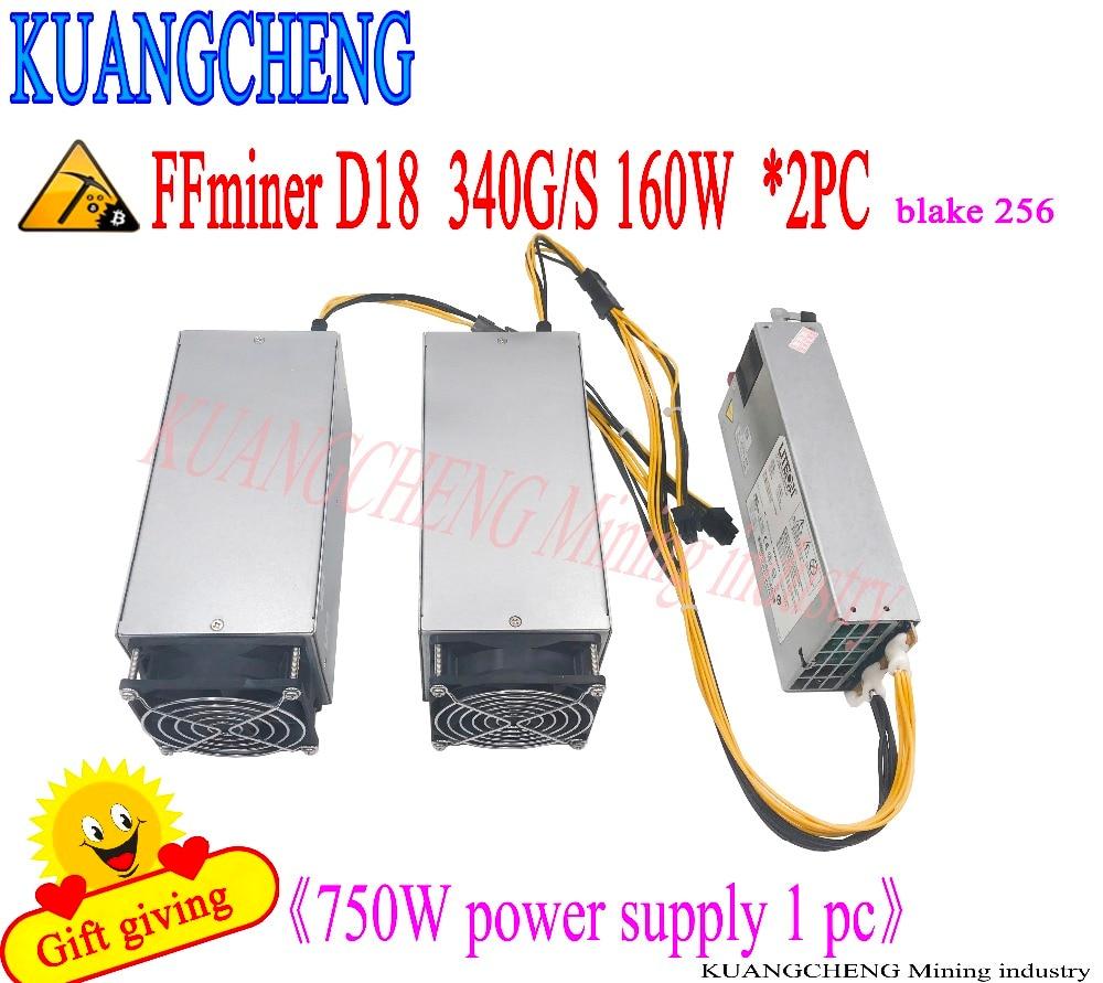KUANGCHENG vende FFminer D18 340g DCR minero asic minr la entrega gratuita de 750 W fuente de alimentación costo-efectivo que Antminer S9