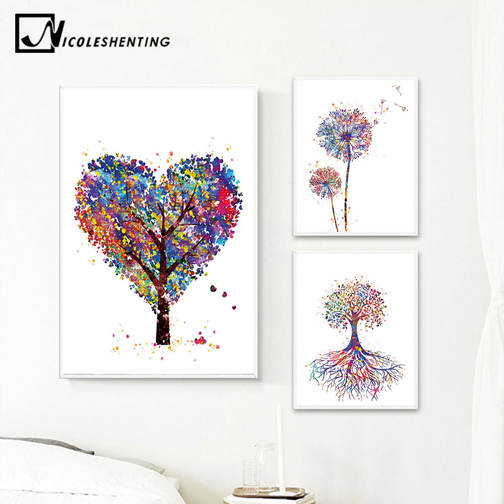 Watercolor Plant Trees Flower Canvas Poster Abstract Minimalist Art Painting Wall Picture Print Modern Home Room Decoration
