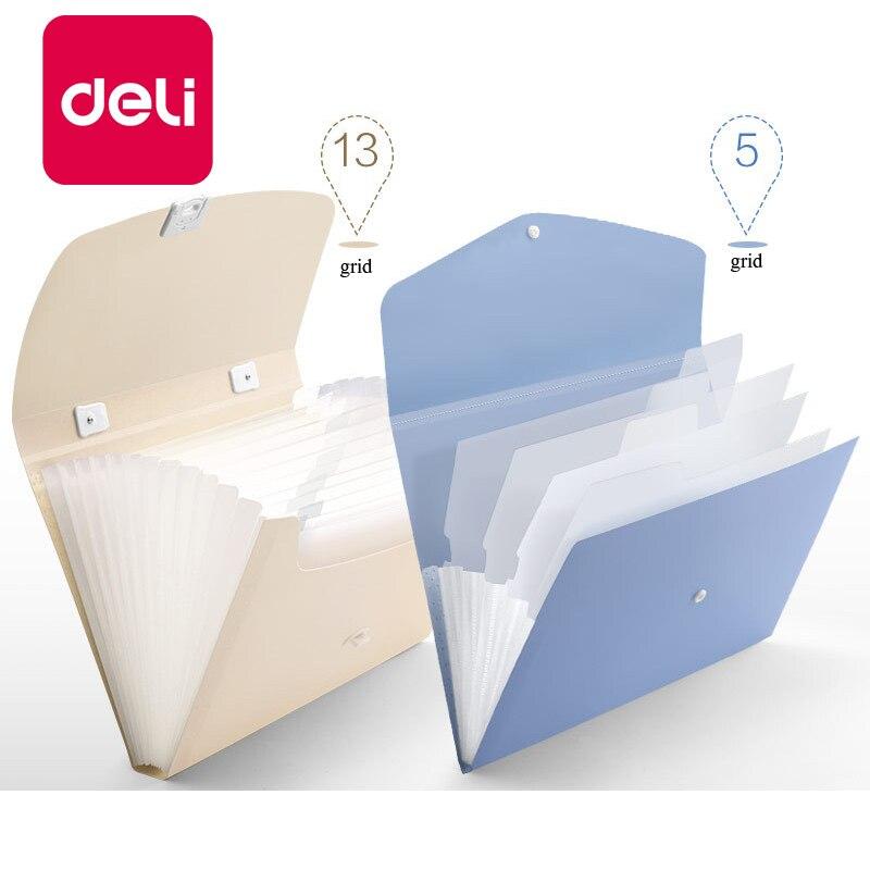 Deli 5PCS File Folder Organ Bag A4 Organizer Box Paper Holder Document Folder Multi-function Storage Finishing Office Supplies
