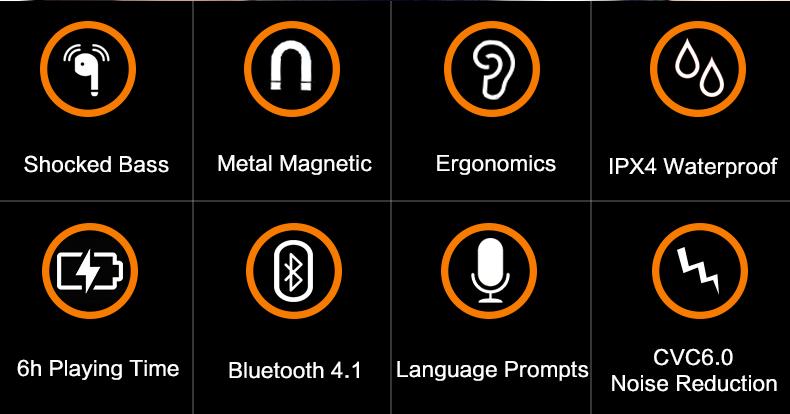 vchicsoar и8 спортивные наушники беспроводной bluetooth для В4.1 стерео запуск магнит подвязки шум снижение наушники с микрофон для xiaomi красный рис