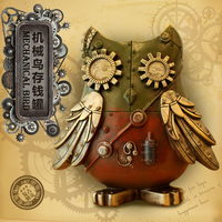 Vintage Antique Style Resin Mechanical Owl Money Box Money Bank Coin Saver Kid S Home Desktops