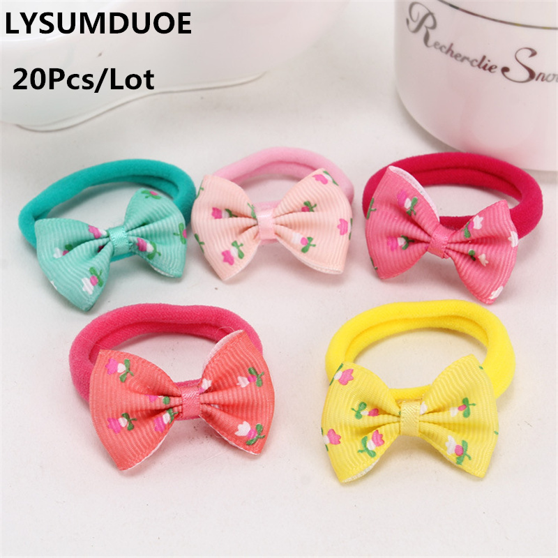1PC Girls Kids Hair Rope Elastic Bow Rubber Bands Hair Ring Candy Color Cute