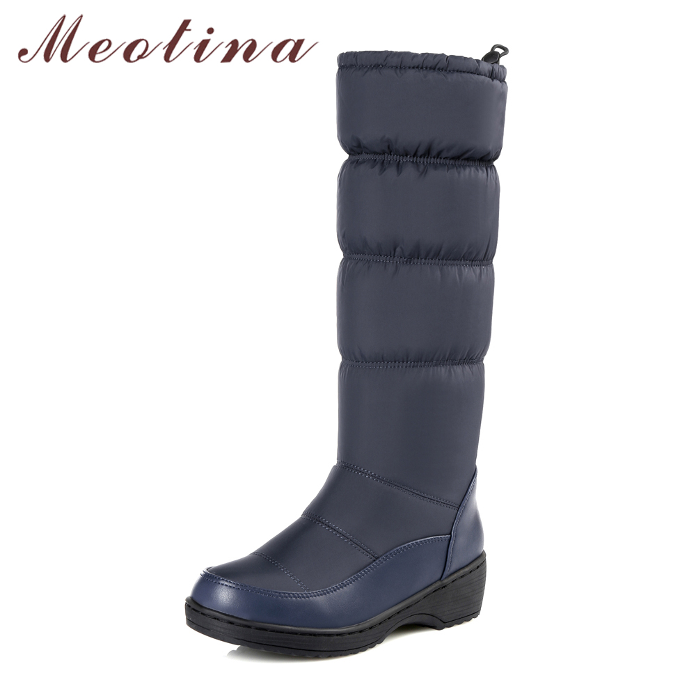 Meotina Snow Boots Winter Boots Women Elastic Band Platform Wedge Heel Knee High Boots Plush Med Heel Shoes Lady Plus Size 5 44
