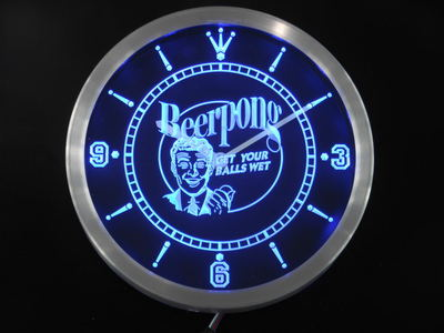 nc0401 Beer Pong Get your Balls Wet Bar Neon Sign LED Wall Clock