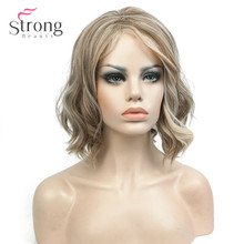 StrongBeauty אור באורך בינוני מתולתלת פאה סינתטית נשים זהב מודגש/Balayage פאות טבעיות שיער