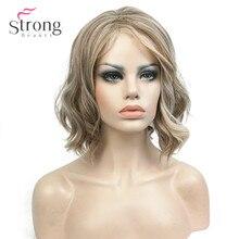 Strongbeauty女性合成かつらミディアムの長さカーリーライトゴールデンハイライトさ/balayage髪ナチュラルかつら