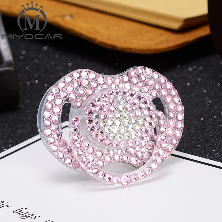 Купить с кэшбэком MIYOCAR bling pink rhinestone with white bling crown pacifier beautiful and niquue gift for baby