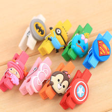 10Pcs Mini Cute Wooden Photo Paper Clothespin Craft Postcard Clips Home wedding Decoration Rope Storage accessories(China)