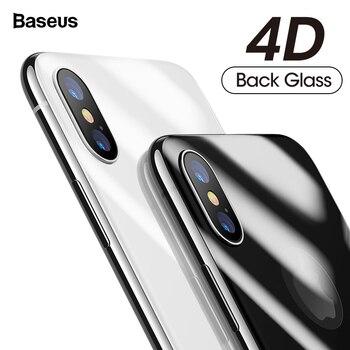 Baseus 4D חזרה מגן מסך זכוכית מחוסמת עבור iPhone X 10 מלא גוף כיסוי הגנה אחורי משוריינת זכוכית סרט עבור iPhoneX