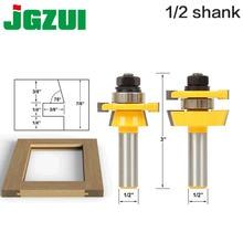 "Rail & Stile Router Bit Set Shaker 2 Pc 1/2 ""Shank 12mm schacht deur mes Houtbewerking cutter tenon Cutter voor Houtbewerking Gereedschap"