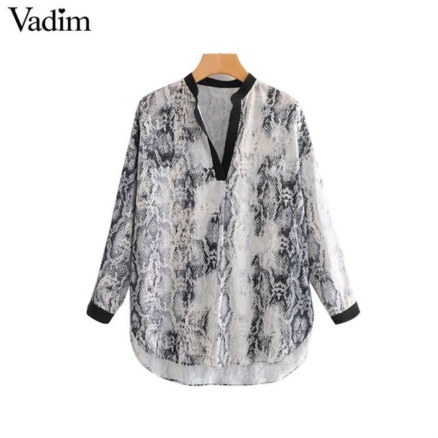 53e2542215f6 Vadim oversized snake skin print long blouse V neck long sleeve side split  animal pattern shirt wild loose long tops LA462