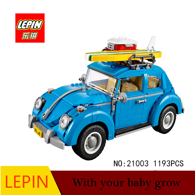 DHL Lepin Techinc Series Lepin 21003 Car Volkswagen Beetle model Assembling Building Blocks Toy Compatible with 10252 gonlei 10566 series volkswagen beetle model sets building kit blocks bricks toy compatible with