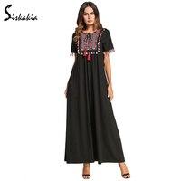 Siskakia Multicolor Tassel ethnic embroidery patch design maxi dress for women summer 2018 elegant swing long dress female 4XL