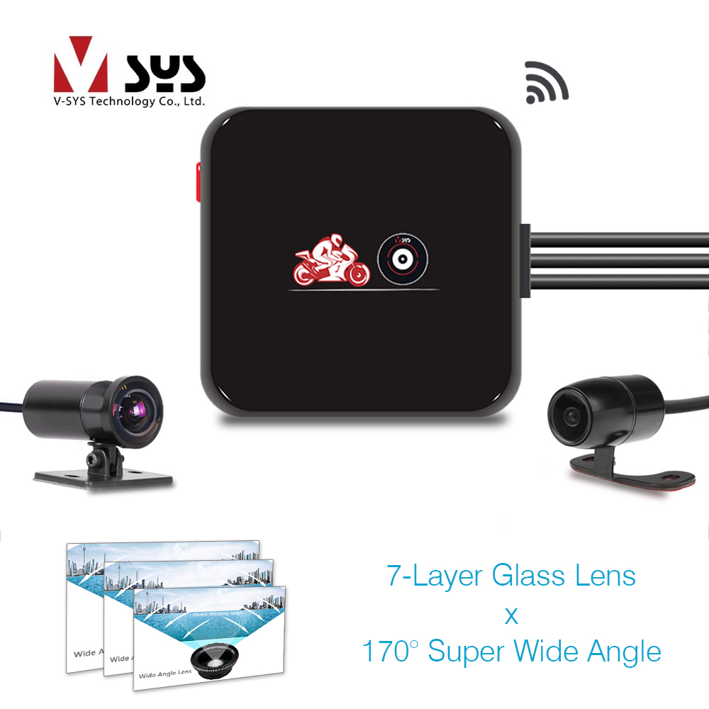 SYS VSYS M6L WiFi Front 1080P Rear 720P Dual Motorcycle Camera Recorder 170 Degree Wide Angle