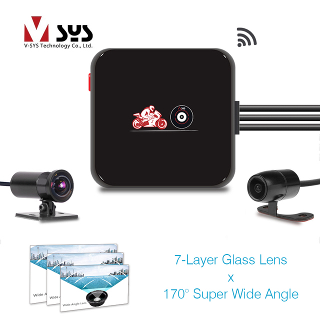 SYS VSYS M6L WiFi Front 1080P+ Rear 720P Dual Motorcycle Camera Recorder 170 Degree Wide Angle Lens VSYS Motorcycle DVR Dash Cam