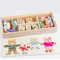 Dress Changing Bear Educational toy bear family dressing jigsaw puzzle children educational wooden toy creative wooden toys