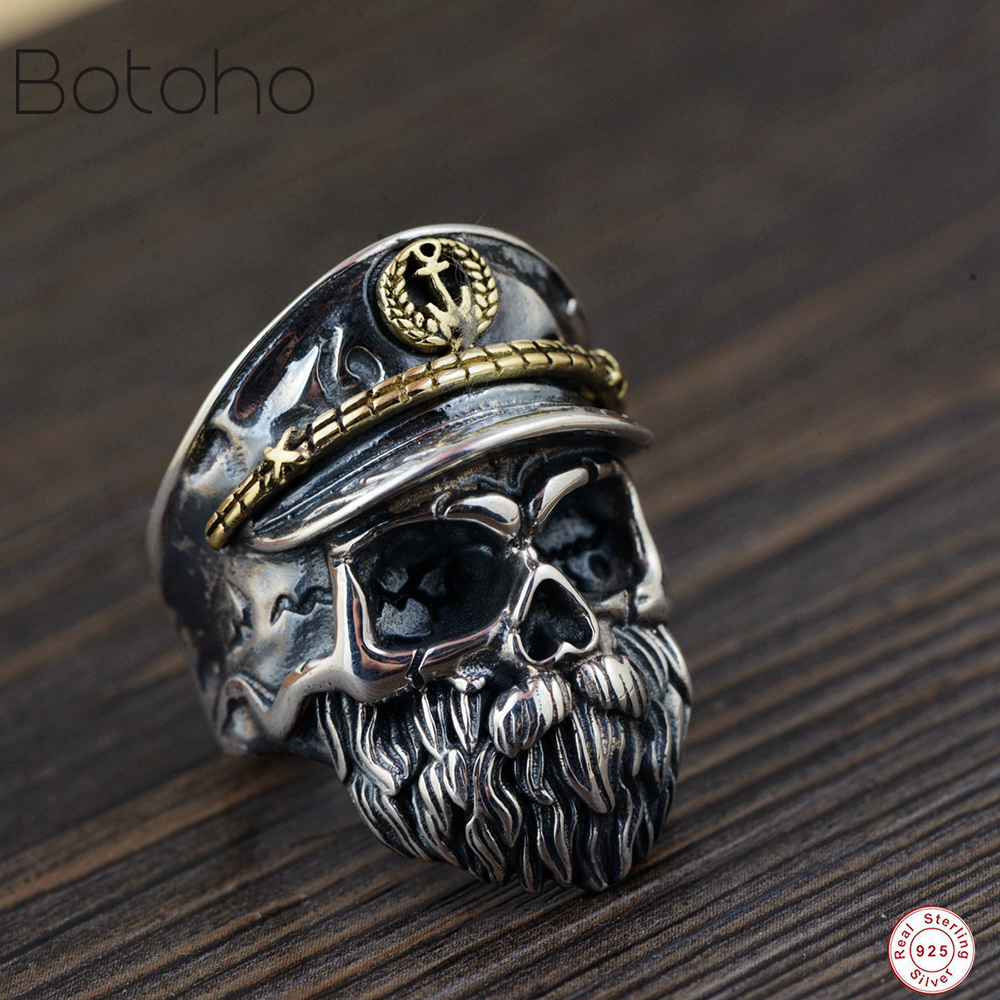 925 Sterling silver men's Skull ring Men's Ring Punk Rock Retro Adjustable Size Skull Ring Knight Men's Jewelry charm Men Ring