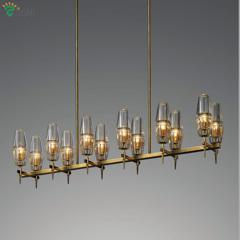 RH Loft Straight 12 Light Dining Room Pendant Light E14 Led Pendant Lamp American Villa Copper Hanging Lamp Suspend Lamp [dbf]modern led pendant light foyer dining room light modern pendant light hanging lamp loft bar beat cement pendant e14 holder