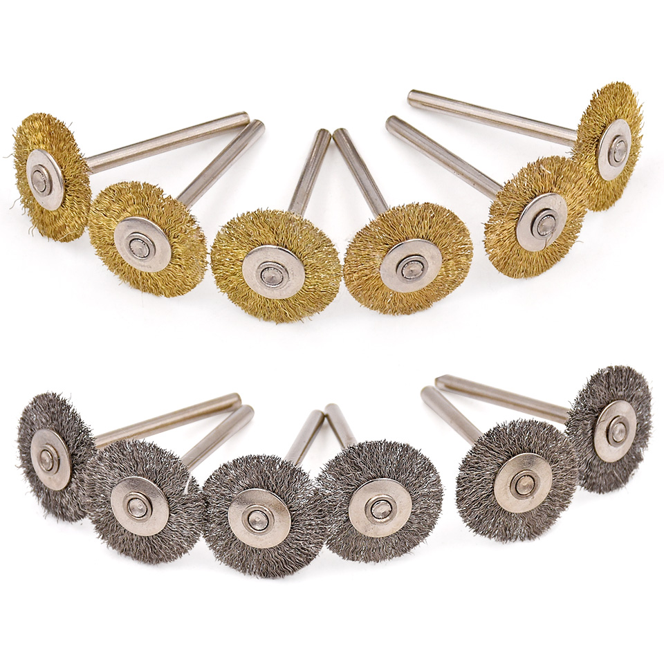 20pcs For Dremel Abrasive Accessories Steel Brass Brush Grinding Wheel Polishing Grinder Brushes For Electric Drill Rotary Tool