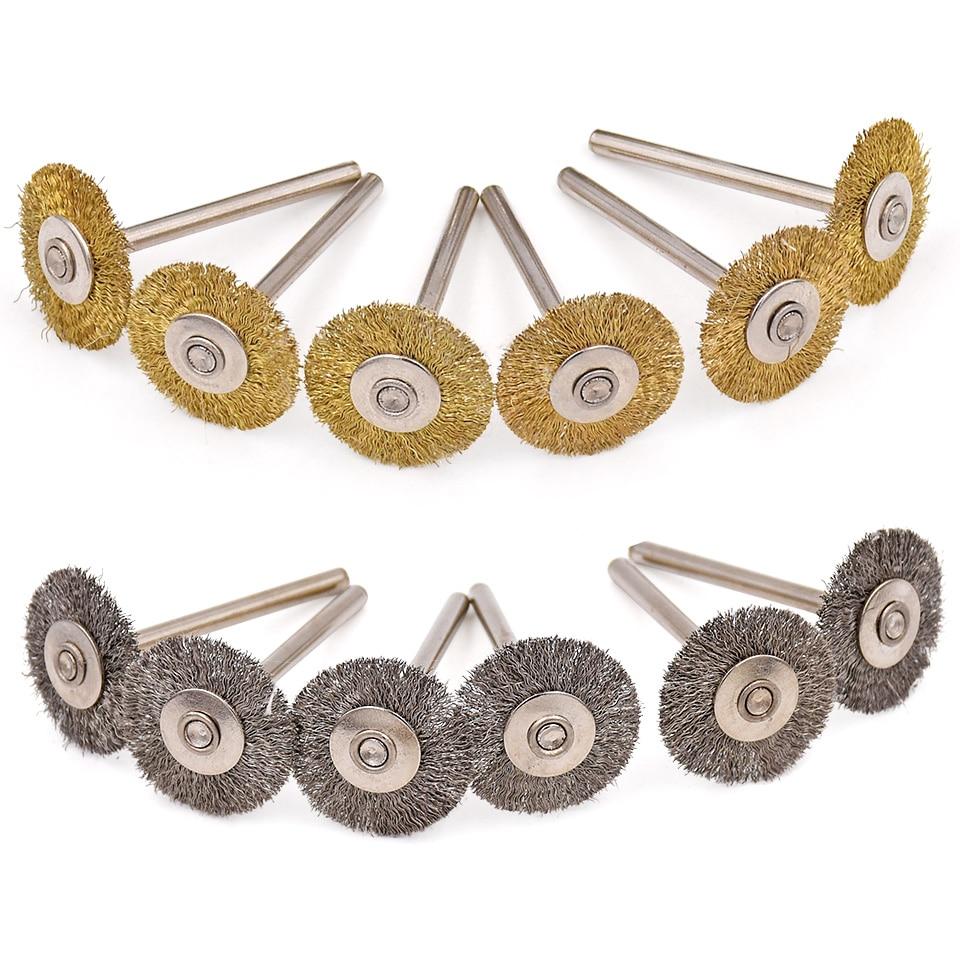 """20 vnt """"Dremel"""" šlifavimo priedams plieninių žalvarinių šepetėlių šlifavimo diskų šlifavimo šlifavimo šepetėliai, skirti elektriniam gręžimo suktuvui"""