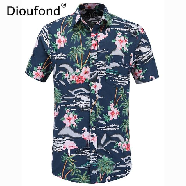 35d6c324e9d mens hawaiian shirt flamingo haven pink Source · Dioufond Men s Summer Short  Sleeve Pink Flamingo Print Hawaiian