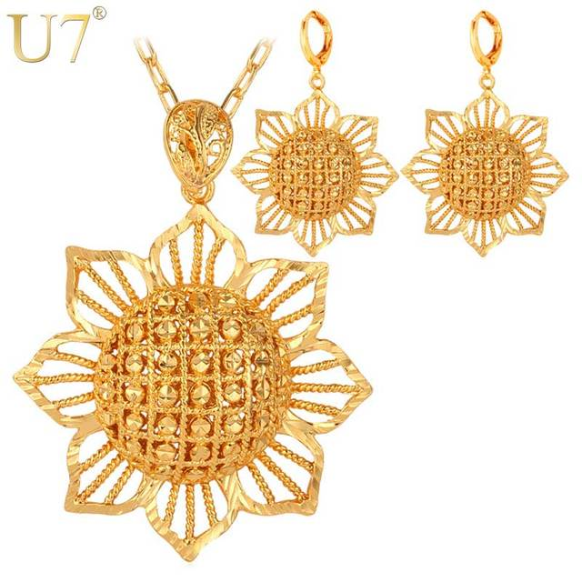 U7 Dubai Gold Color Jewelry Set With Trendy Party Round Earrings Big