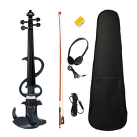 Tooyful Black 4/4 Electric Violin with Fiddle Case Bow Rosin for Violin Players Beginners Students Music Lovers