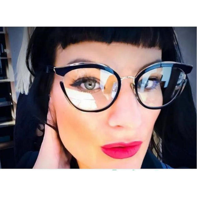 ee6530ef990 MINCL   retro cat glasses frames for women designer 2018 sexy black  eyeglasses frame women optical with box LXL