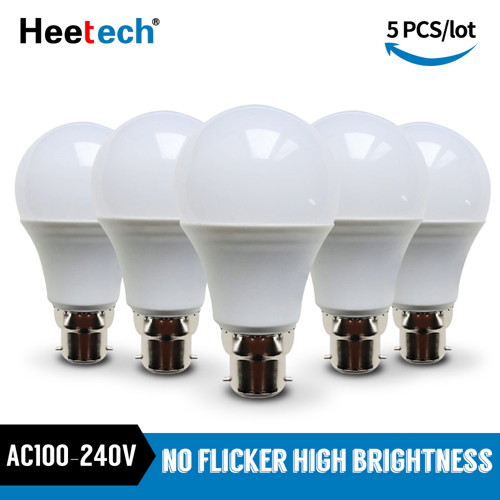 5pcs/lot LED Bulb B22 Lamp 110V 220V 230V 240V Lampada Spotlight Table Lamp 3W 5W 7W 9W 12W 15W 18W Cold White Warm White Light