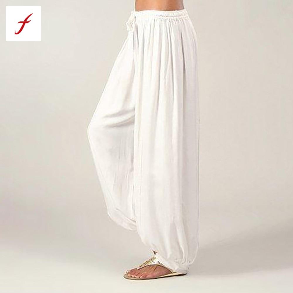 Feitong Women Harem Pants Plus Size Casual Loose Harem Pants for Women Solid Color Linen Pants Female Trousers S-3XL Black 2019