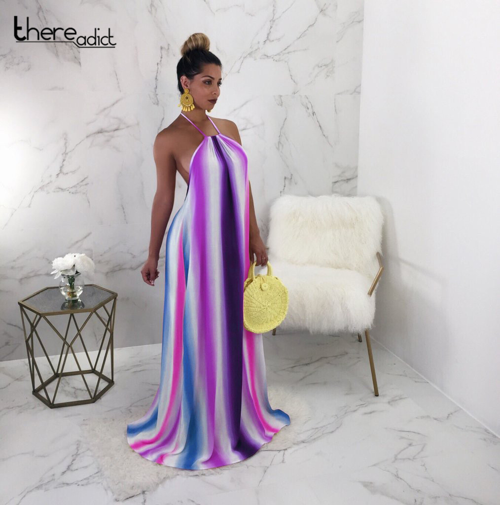 Sexy 2018 Sexy Girls Elegant Women Rainbow Strip Print Backless Halter Oversize Maxi Long Dress Summer Party Nightclub Dress
