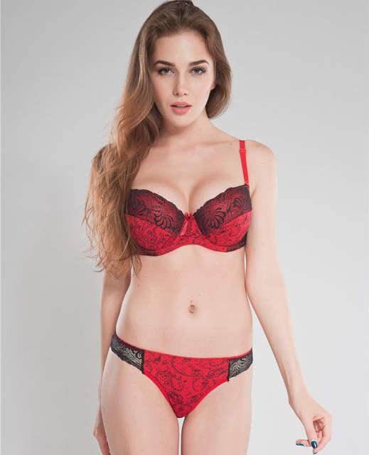 704f3fb3297 Online Shop Intimates Set Women plus size Bra Sets Embroidered Flora Lace  Thong Bra And Panty Set C D E 34 36 38 40 Sexy Lingerie Set N166