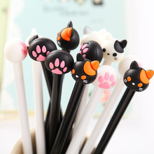 4 pcs/lot Kawaii Cartoon Cat Plastic Ink Gel Pen Cute Claw School Pens For Kids Writing Korean Stationery Free Shipping 3641