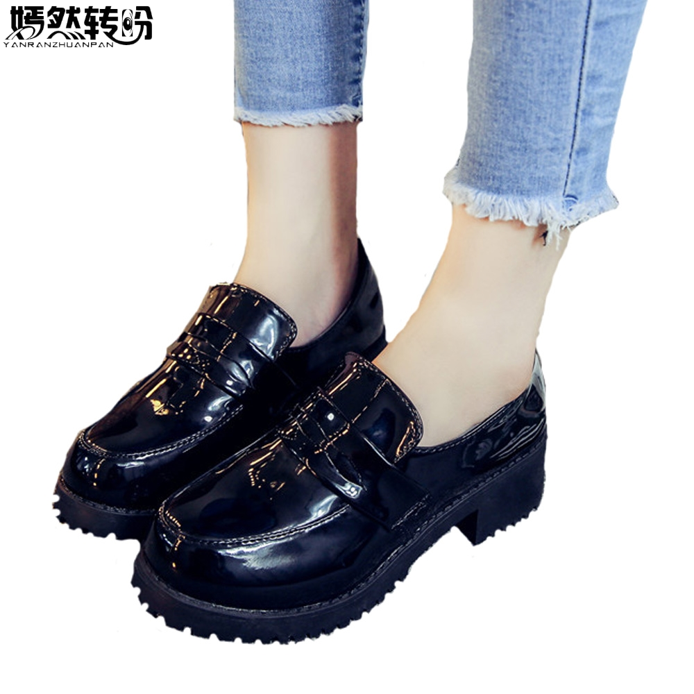 2017 New Women's Japan/Japanese School Student Uniform JK Shoes Uwabaki PU Leather Cosplay Round Toe Maid Anime Cosplay Shoes seitokai no ichizon cosplay school boy uniform h008