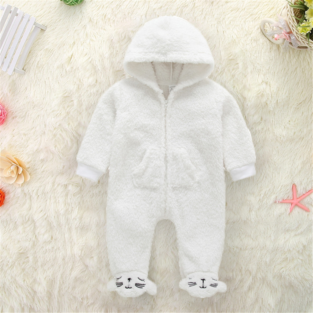 2018 Winter Newborn Baby Bodysuits Infant Boy Girl Warmth Thicken Playsuits Clothes 100% Cototn Bebe White Jumpsuit Outfits