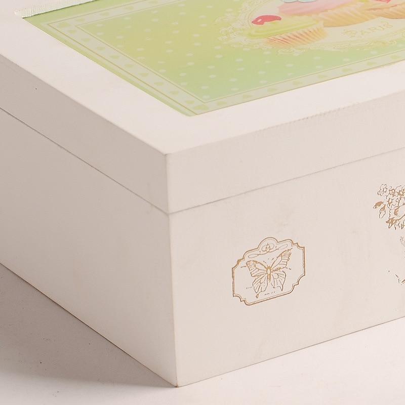 Vintage rétro organisateur conteneur boîtes de rangement en bois cosmétique boîte à bijoux décoratif solide affichage boîtes en bois pour les amis - 5
