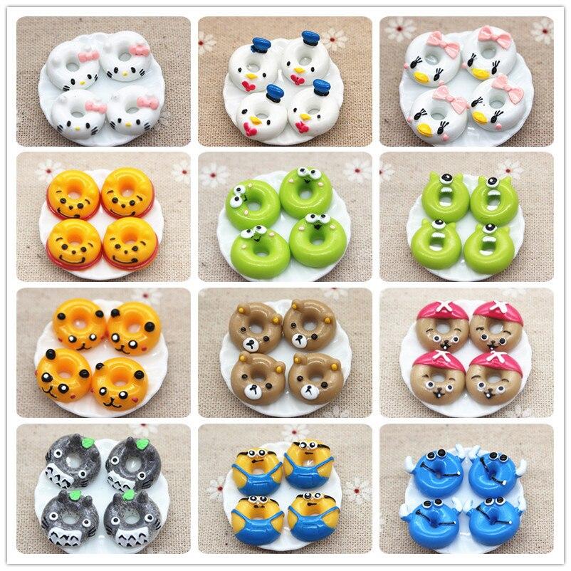 17mm Kawaii Cartoon Animal Donuts Resin Miniature Food Art Flatback Cabochon DIY Decorative Craft Scrapbooking