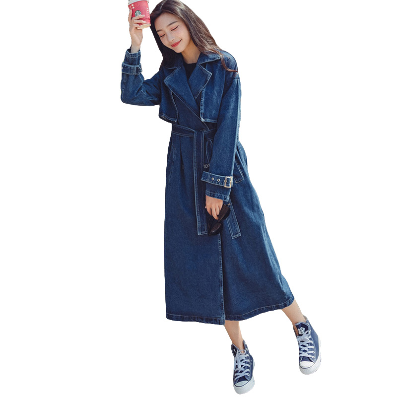 2019 Spring New Long Sleeve Denim   Trench   Coat For Women Fashion Women's Windbreaker With Belt Casual Long Denim Coats Female